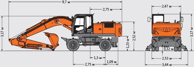 Габариты колесного экскаватора Hitachi ZX 210