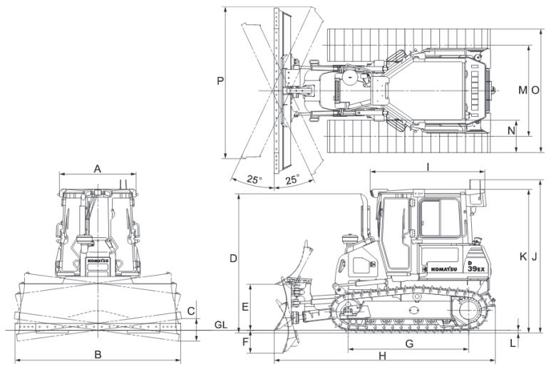 Габариты Komatsu D39EX-22