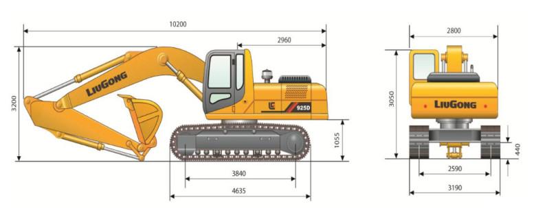 Габаритные размеры Liugong CLG 925D