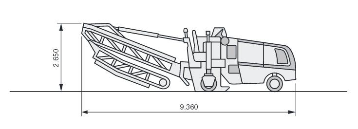 Размеры Wirtgen W100 в исполнении со складывающимся конвейером